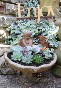 Cherub with succulents and Enjoy sign.
