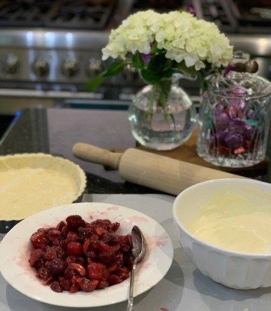 all the components for the cream cheese cherry tart.