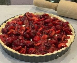 cherries top the filling