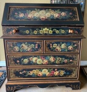 black hand painted chest