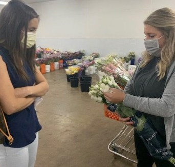 Brooke and Emily planning flowers