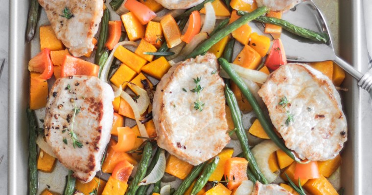 Weeknight Dinner 30 minute Pork and Sweet Potato Sheet Pan