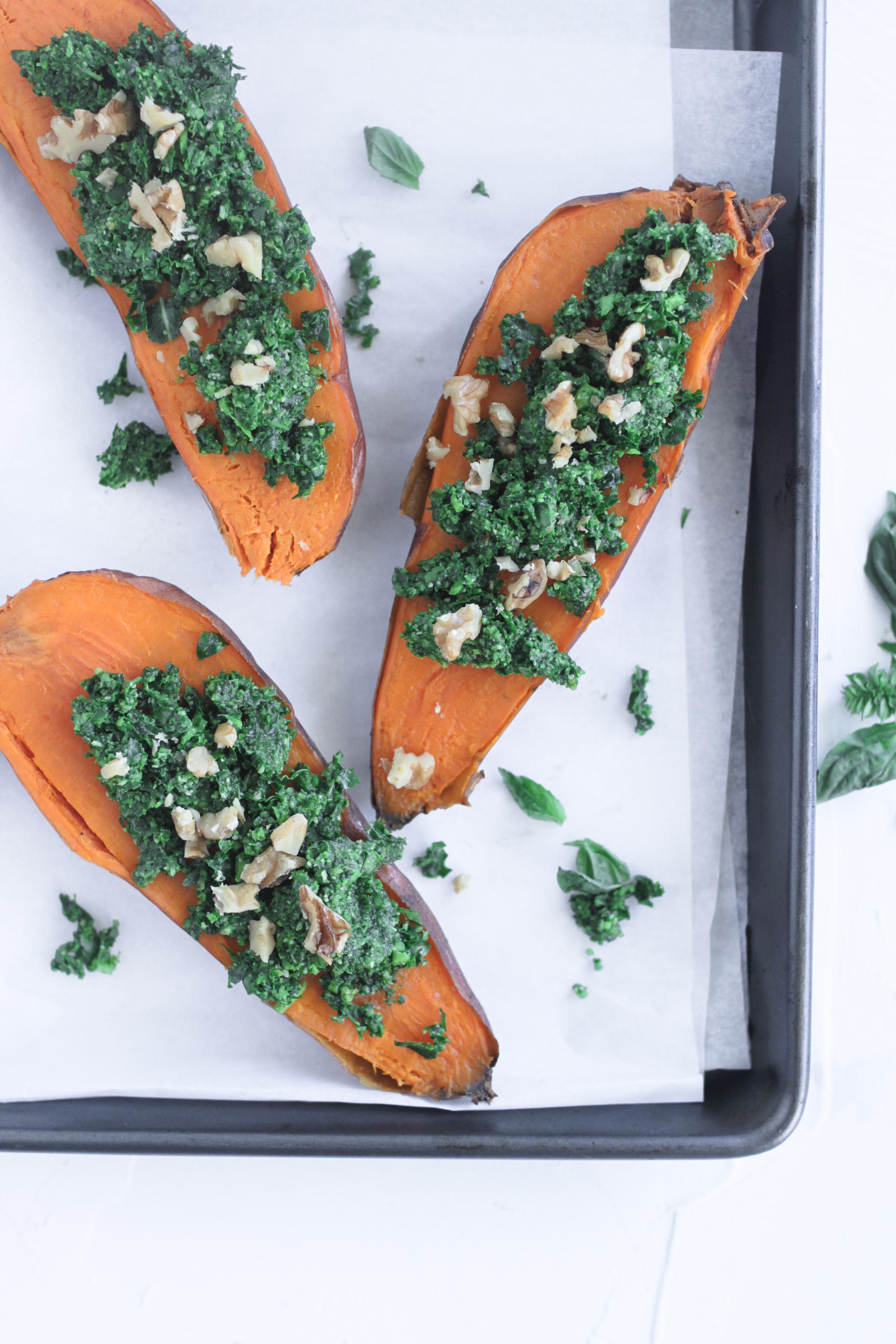 Vegetarian Stuffed Kale Pesto Sweet Potato