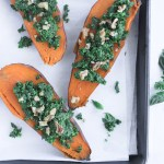 Vegetarian Kale Pesto Stuffed Sweet Potatoes
