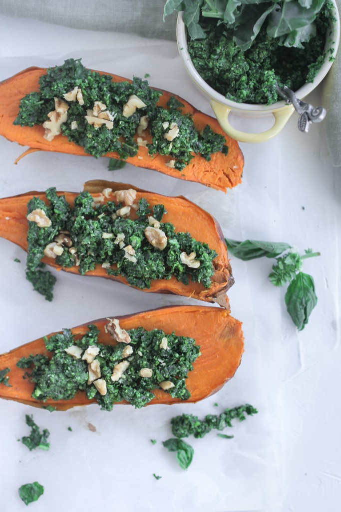 Vegetarian Kale Pesto Stuffed Sweet Potatoes