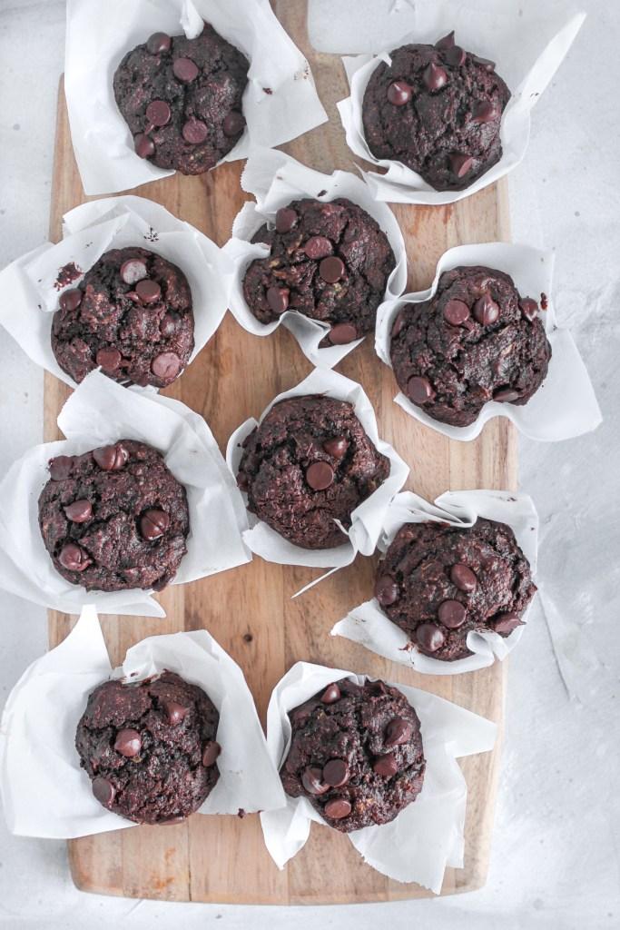Hidden Vegetable Chocolate Chocolate Chip Muffin