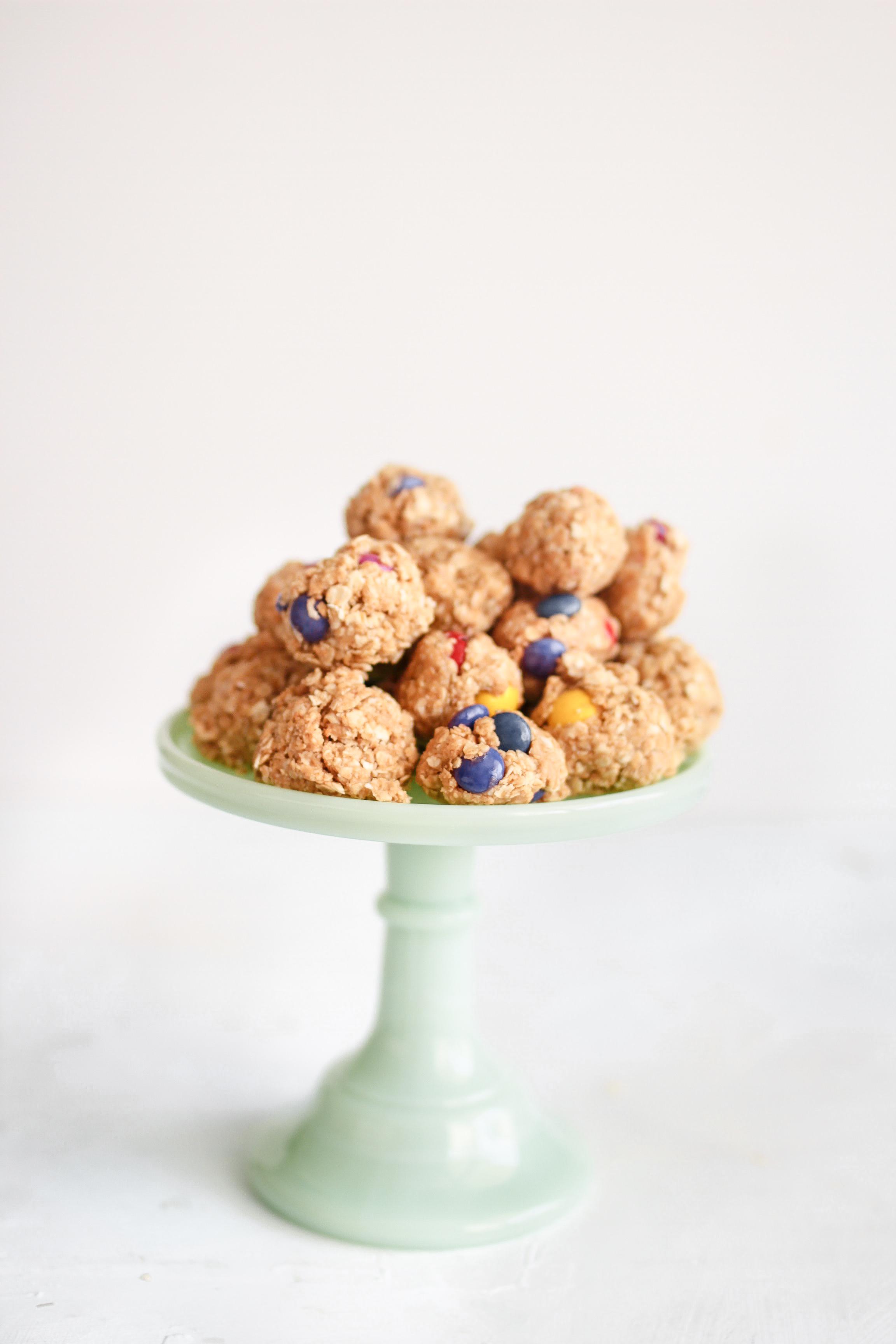 No Bake Monster Peanut Butter Pieces Energy Bites