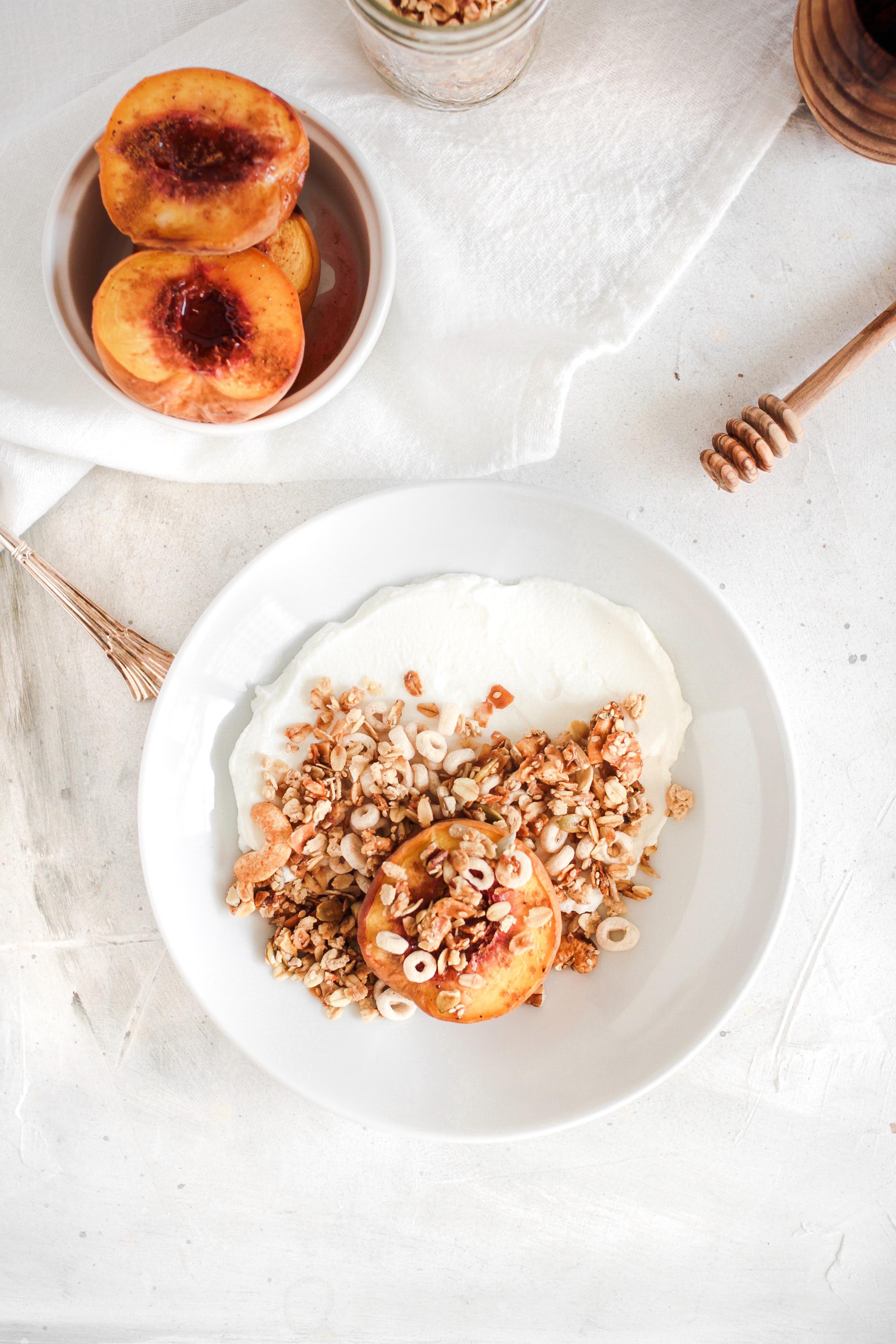 End of Summer Roasted Peaches Granola Honey Yogurt Bowl