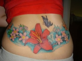 In this case butterfly is merely an element of much bigger flower design tattoo