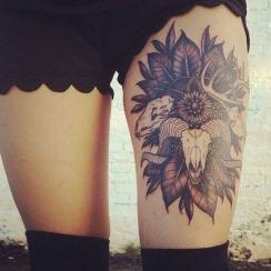 Beautiful Thigh Tattoo Design For Girls http://www.tattoostime.com/tattoos/thigh/