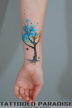 Amazing Watercolor Tree Tattoo On Wrist. https://www.askideas.com/53-colorful-watercolor-tattoos/