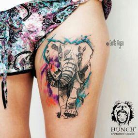 Watercolor elephant on thigh. https://pl.pinterest.com/pin/310044755582692307/