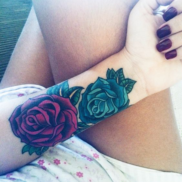 Fantastic Blue and Purple Rose Tattoo Idea