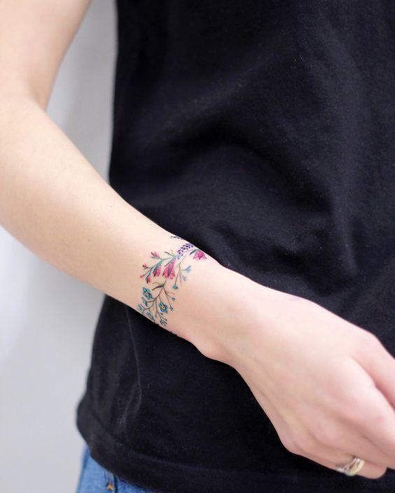 Cute colorful flower armband tattoo ideas for wrist