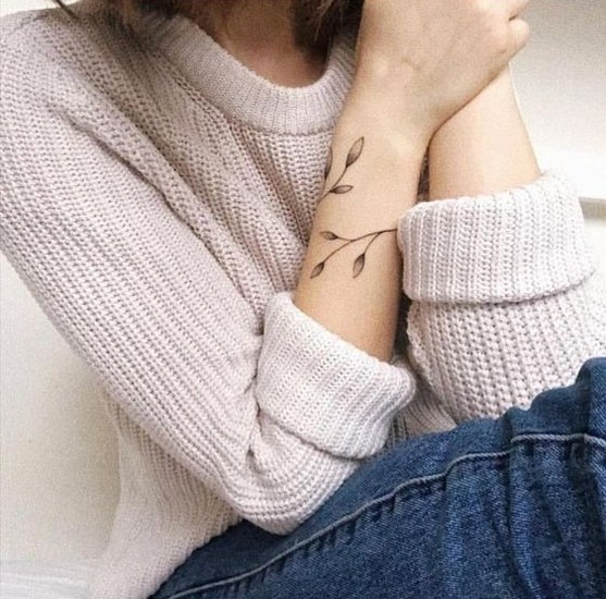 Wrist leaf armband tattoos for women with meaning