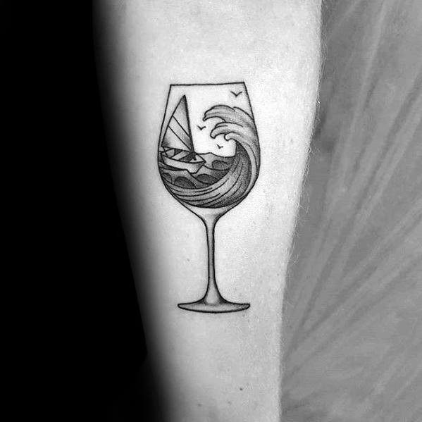 Ship in a glass of wine ideas for tattoo