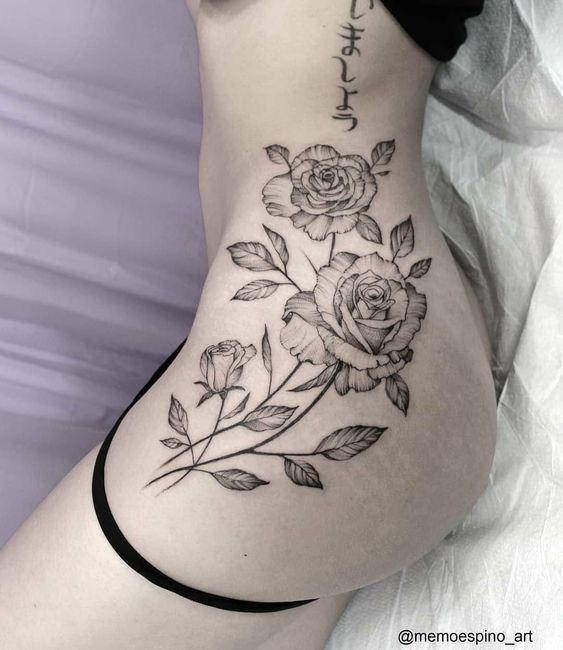Three black roses tattoo on thigh women