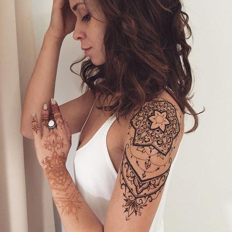 Beautiful mandala full arm tattoo for women