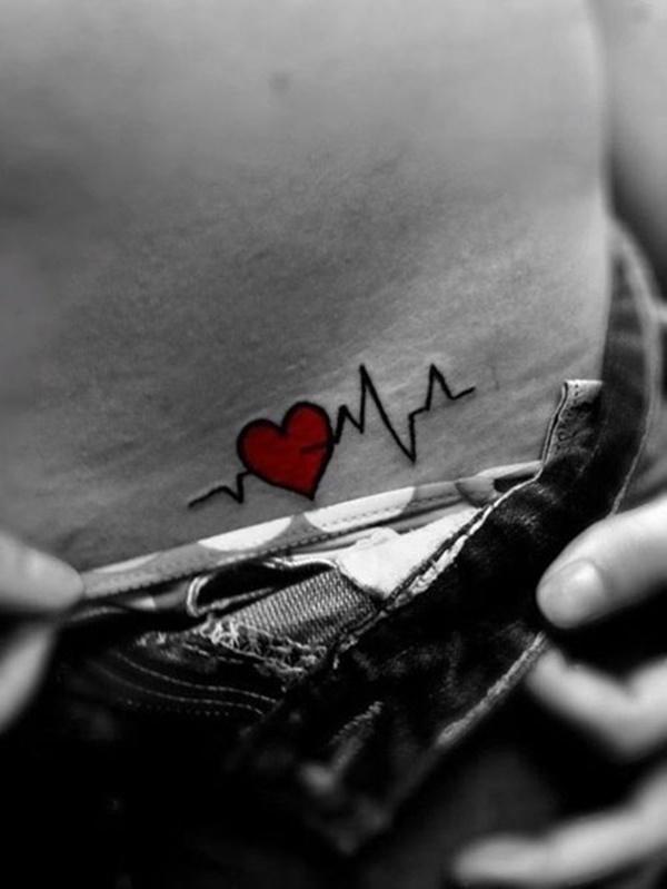 Cute heart tattoo for women hip