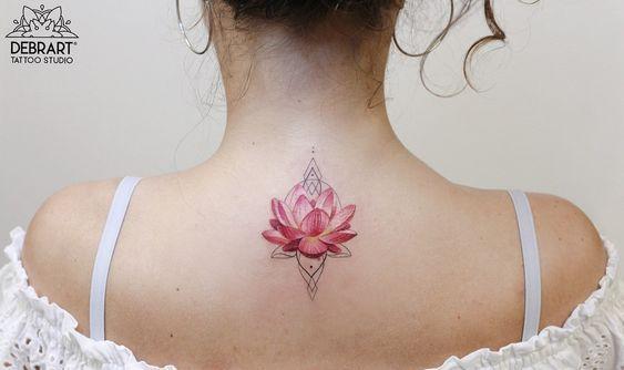 Remarkable neck lotus flower tattoo for women