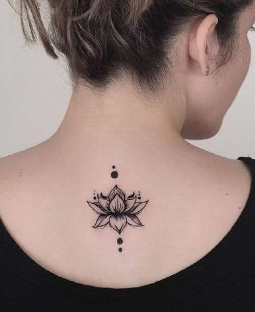 Unique lotus flower tattoo on the neck