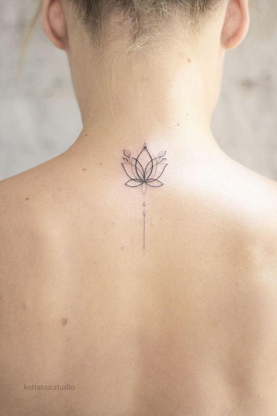 With style lotus flower tattoo on the back of the neck