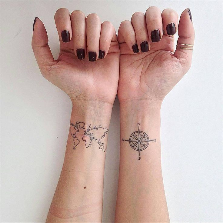 With style world map on wrist tattoo for women