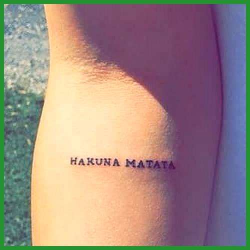 Little Hakuna Matata Tattoo On Arm