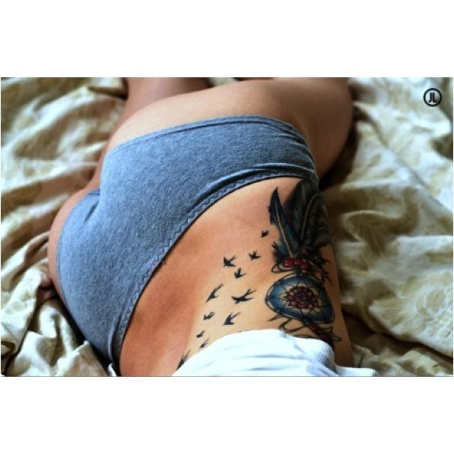 Dream catcher tattoo on side ideas