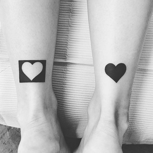 Matching hearts tattoo ideas for partners