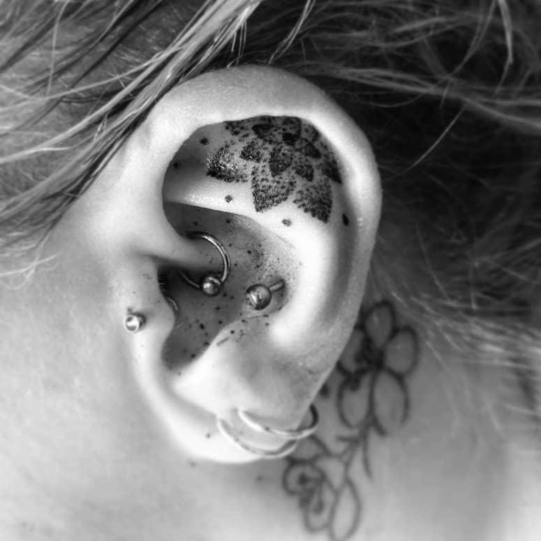 Amazing dots tattoo work on ear
