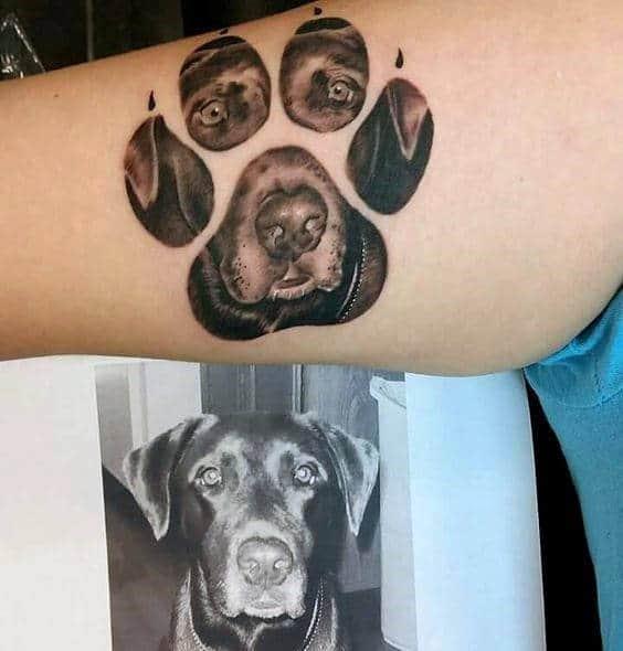 Black lab dog arm tattoos