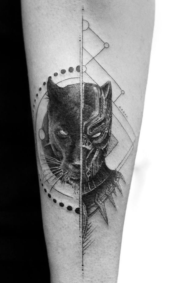 Mind blowing realistic black panther tattoo on arm