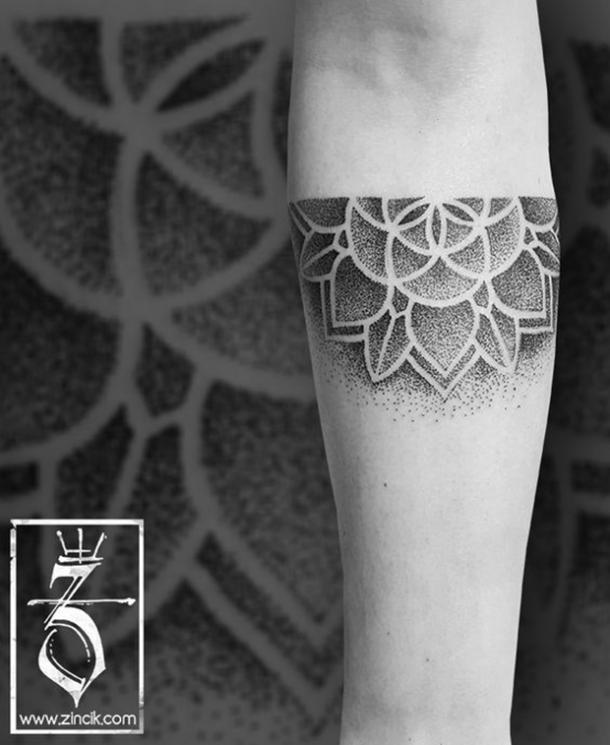 Semicircle flower tattoo design