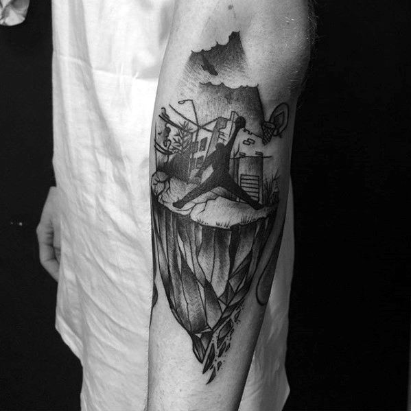 Flaying Jordan with earth tattoo