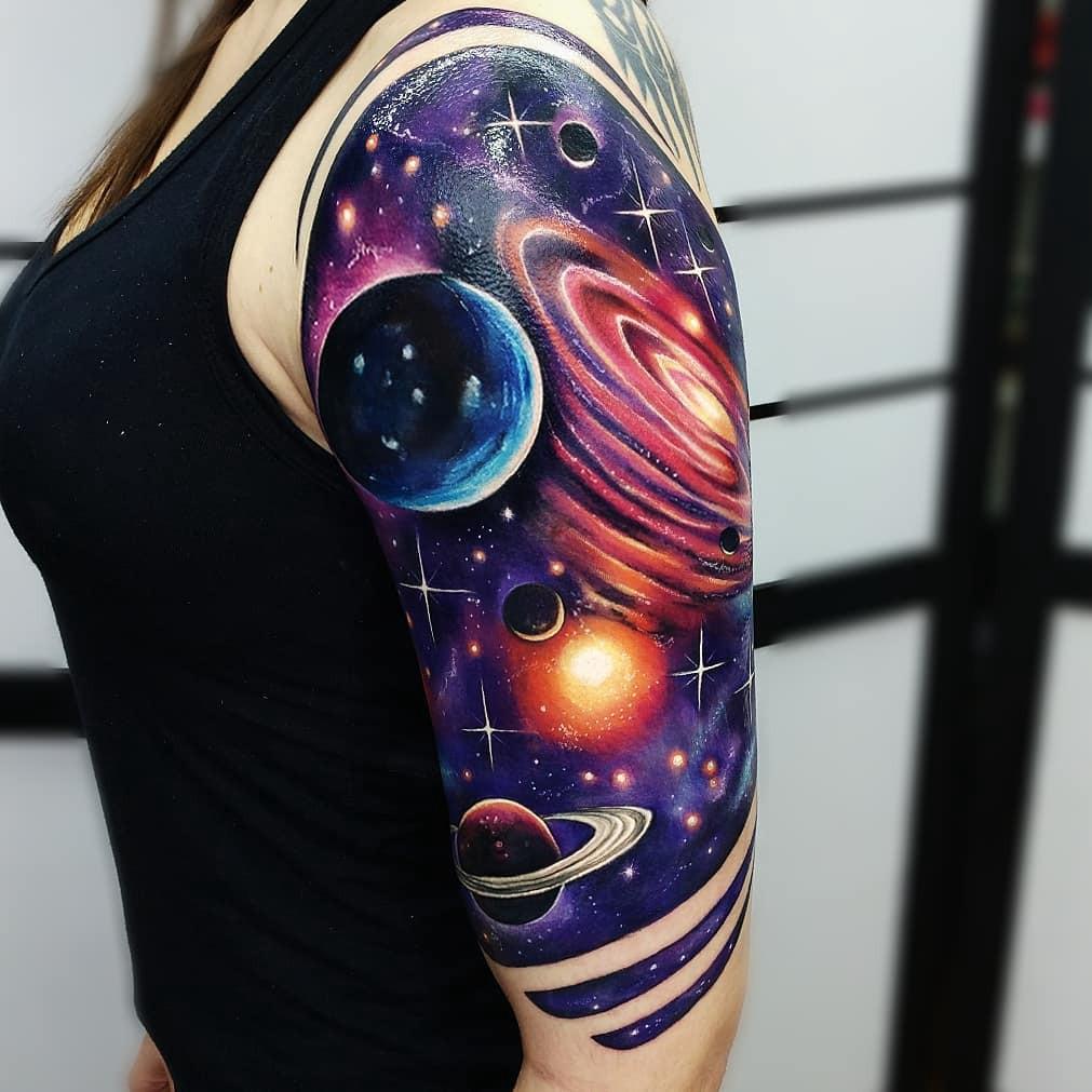 Galaxy arm tattoo for women