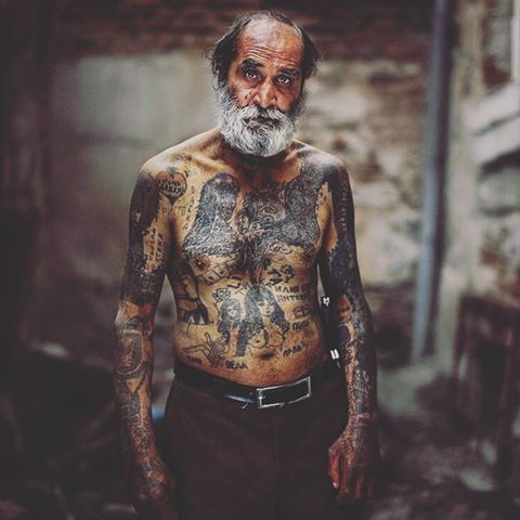 Old people with tattoo