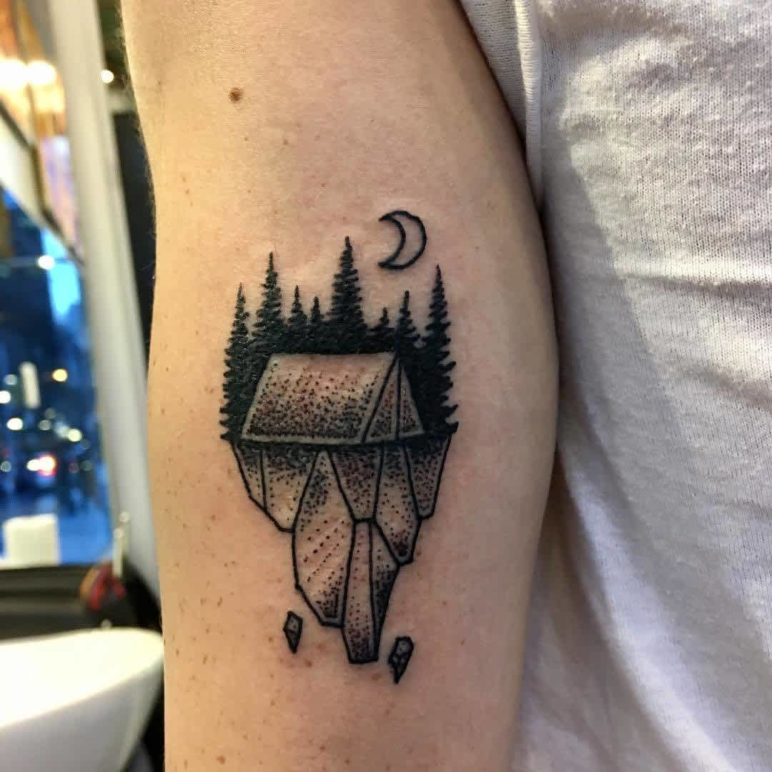 Camping nature elbow tattoos