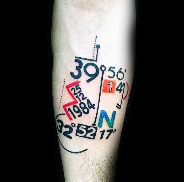 Creative coordinate tattoo