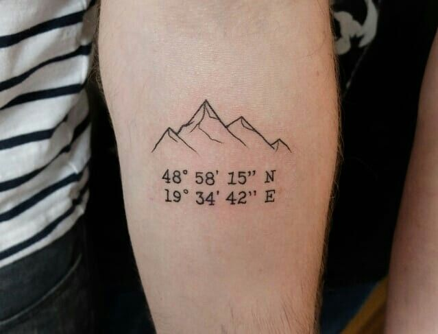 Mountain and coordinate tattoo