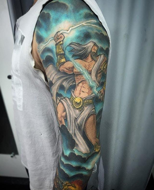 Zeus throwing lightning tattoo
