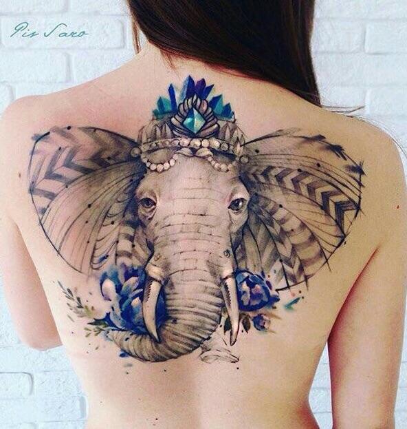Big elephant God tattoo on back