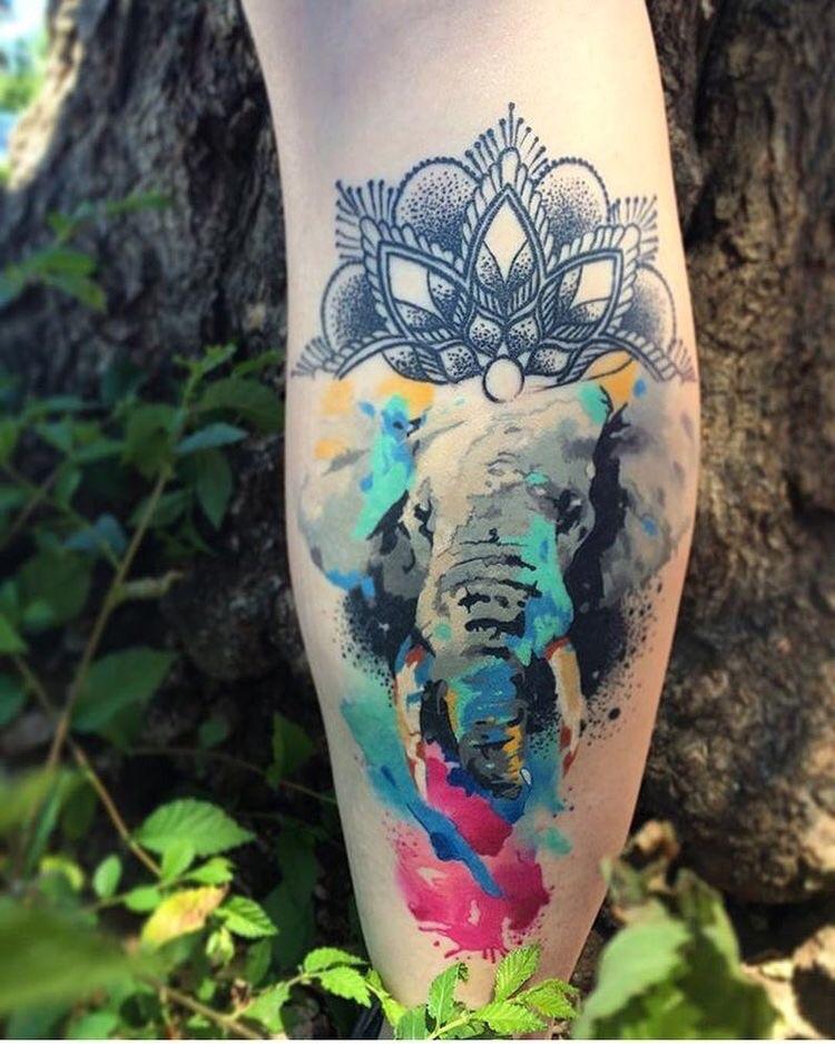 Watercolor ganesha tattoo design