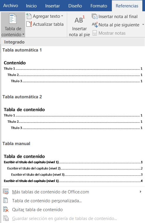 Ilustración 2 – Tablas de contenido