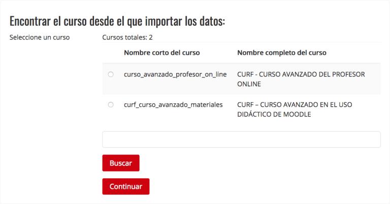 Buscar datos para importar