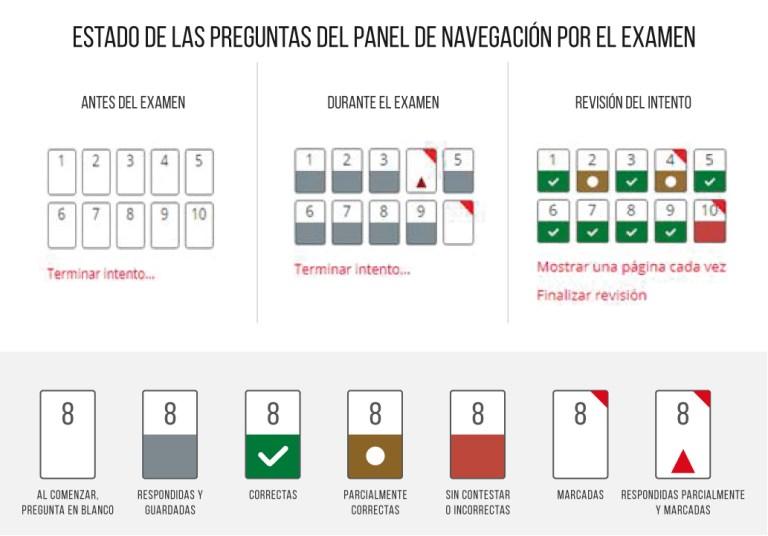 Diferentes estados del panel de navegación por el examen