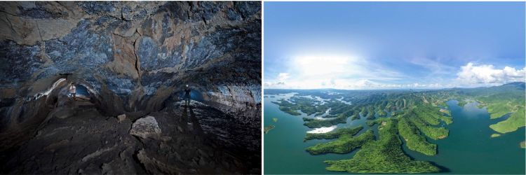 Cueva volcánica C1 y el lago Ta Dung