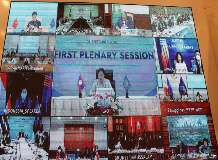 The first plenary session of the AIPA 41, held virtually on September 8 morning (Photo: VNA)