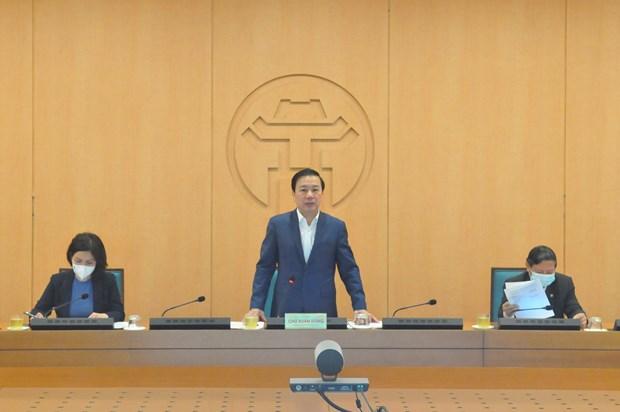 Заместитель председателя Народного комитета Ханоя Тьы Суан Зунг председательствовал на заседанииРуководящего комитета по профилактике эпидемии COVID-19. (Фото: Корр./Vietnam+)
