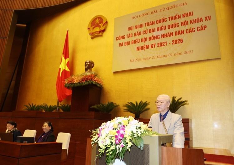 Le 21 janvier, le secrétaire général du Parti et président Nguyen Phu Trong prononce un discours lors de la conférence nationale sur les élections des députés de la 15e législature de l'Assemblée nationale et des conseils populaires pour 2021-2026 tenue sous format virtuel. Photo: VNA
